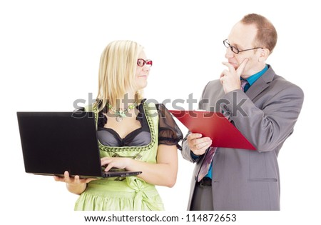 Good teamwork in the workplace - stock photo