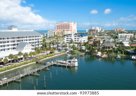 good view of a sunshine afternoon at Clearwater of Florid America - stock photo
