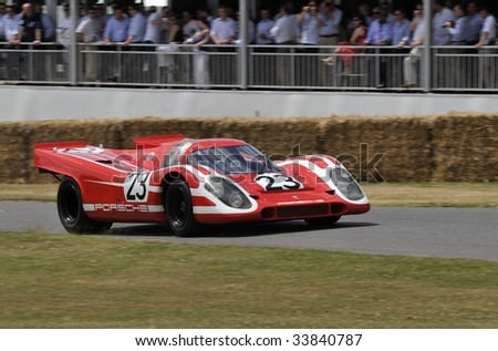 GOODWOOD, UNITED KINGDOM - JULY 3: Classic Le Mans race car the Porsche 917 drives up the hill at the Goodwood Festival of Speed in the United Kingdom  on July 3rd 2009 - stock photo