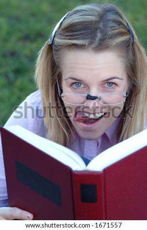 goofy student - stock photo