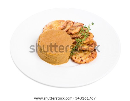 Goose liver pate and cheese scones. Isolated on a white background. - stock photo