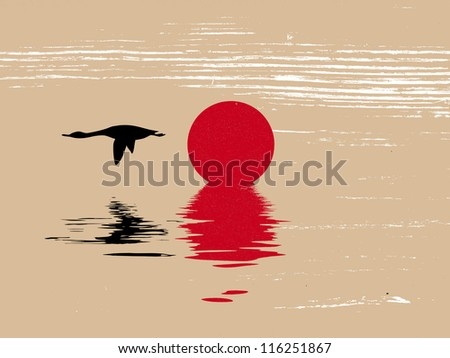 goose silhouette on grunge background - stock photo