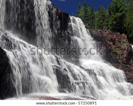 Gooseberry Falls in Minnesota on the north shore of Lake Superior - stock photo