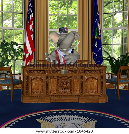 GOP Speech from the Oval Office Represented by a Republican Political Elephant - stock photo