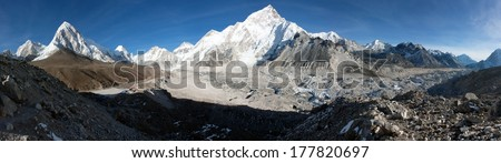 Gorak Shep village, Pumo Ri, Nuptse and Kala Patthar view point on the way to Everest base camp  - Nepal  - stock photo