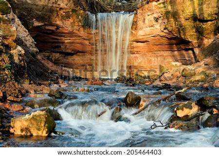 Gorchakovschina waterfall  near Volkhov River, district Leningrad region Russia - stock photo