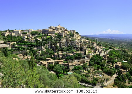 Gordes Medieval Village built on a rock hill in Luberon, Provence Cote Azur Region, France. - stock photo