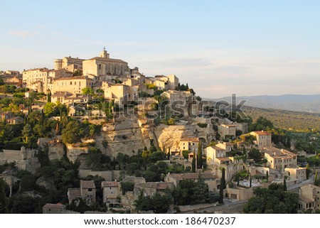 Gordes medieval village in  Provence, Southern France, sunset view  - stock photo