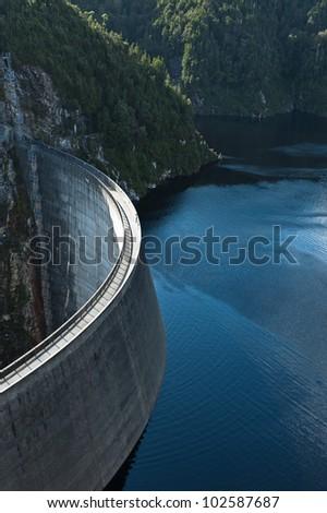 Gordon Dam, Tasmania during a sunny day - stock photo
