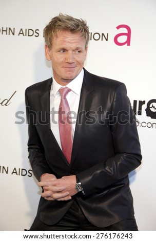 Gordon Ramsay at the 21st Annual Elton John AIDS Foundation Academy Awards Viewing Party held at the Pacific Design Center in West Hollywood on February 24, 2013 . - stock photo