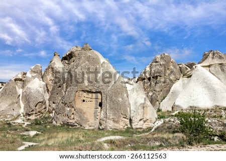 Goreme national park. Volcanic rock landscape, Cappadocia, Turkey.  - stock photo
