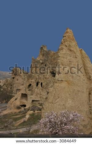 goreme open air museum in cappadocia in turkey - stock photo