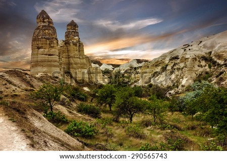 Goreme, Turkey. Column mountain landscape, Cappadocia - stock photo