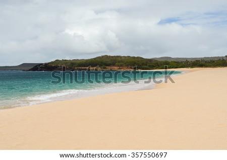 Gorgeous and deserted Popohaku Beach on Molokai, Hawaii, USA - stock photo