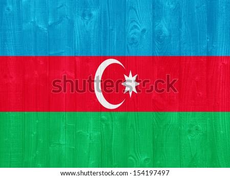 gorgeous Azerbaijan flag painted on a wood plank texture - stock photo