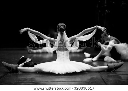 Gorgeous ballerina repeating movements backstage - stock photo