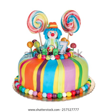 Gorgeous birthday cake for children. Colorful candy. - stock photo