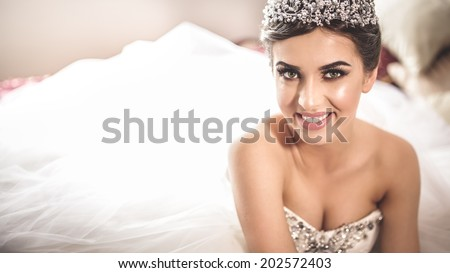 stock photo gorgeous bride portrait in her wedding dress wearing tiara beautiful bridal makeup and hairstyle 202572403