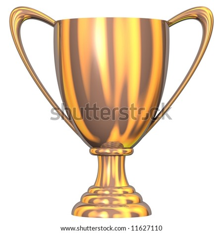 Gorgeous bronze trophy cup isolated on white - stock photo