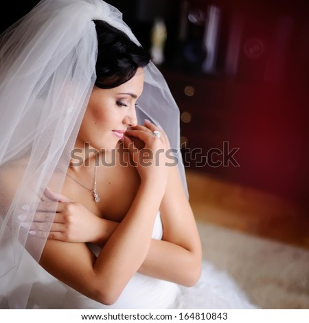 Gorgeous brunette caucasian bride at home. - stock photo