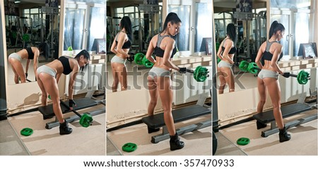 Gorgeous brunette working on her muscles in a gym, mirror reflection. Fitness woman doing workout. Sporty girl doing exercise in fitness center. Beautiful brunette toning her muscles at the gym - stock photo