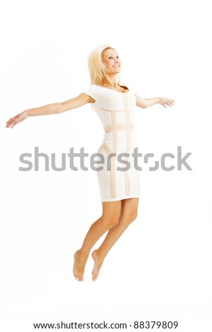gorgeous caucasian woman over white background studio shot - stock photo