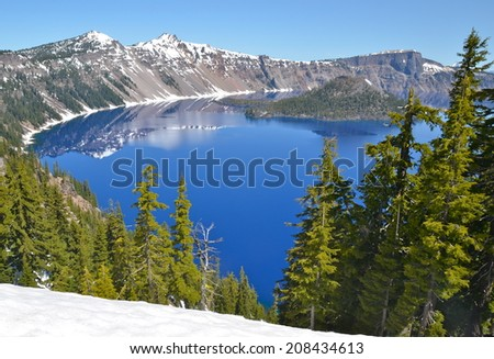 Gorgeous Crater lake on a spring day, Oregon, USA - stock photo