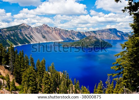 Gorgeous Crater lake on a summer day - stock photo