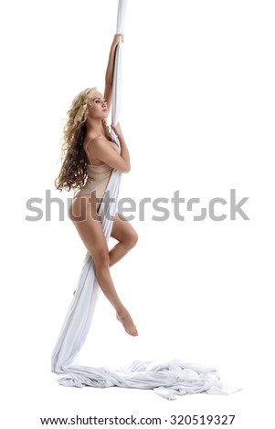 Gorgeous female dancer posing on aerial silk - stock photo