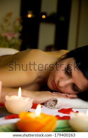 Gorgeous female model having a good time in luxury spa in vacation - stock photo