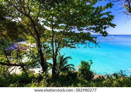 Gorgeous Freedom Beach at morning Taken from high point, Phuket, Thailand / Freedom beach, Phuket, Thailand - stock photo