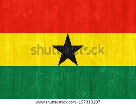 gorgeous Ghana flag painted on a wood plank texture - stock photo