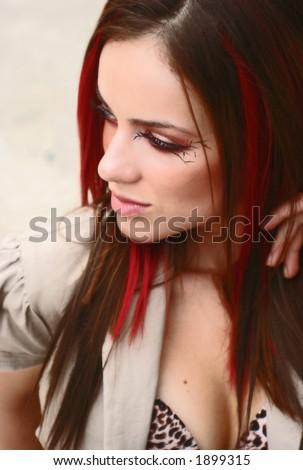 gorgeous girl thinking - stock photo