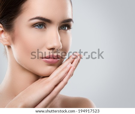 Gorgeous girl with beautiful face - stock photo