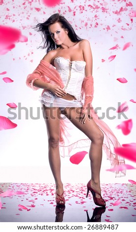 Gorgeous glamour girl with a long voile over rose petals - stock photo