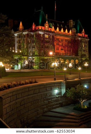 Gorgeous hotel in downtown of Victoria, British Columbia at night. - stock photo