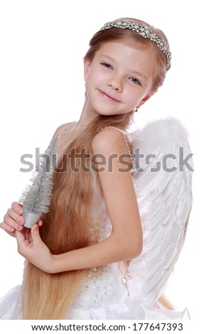 Gorgeous little angel isolated on white background on Holiday theme/Portrait of smiley little angel  - stock photo