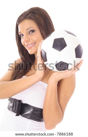 gorgeous model with a soccer ball - stock photo