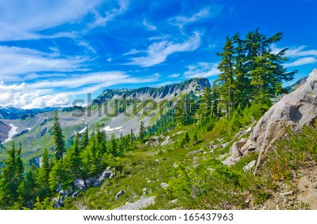 Gorgeous mountain view. Outlook at Mount Baker lands and wilderness with the Table mountain and Bagley lake. North America. - stock photo