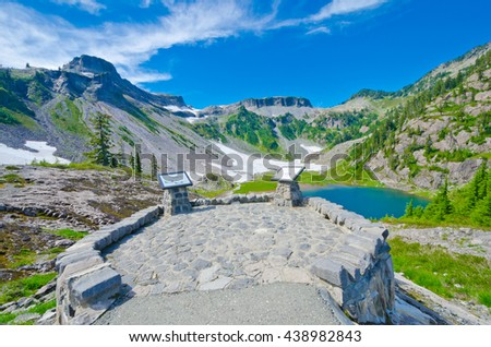 Gorgeous mountain view. View point at the valley at Mount Baker lands and wilderness  North America. - stock photo