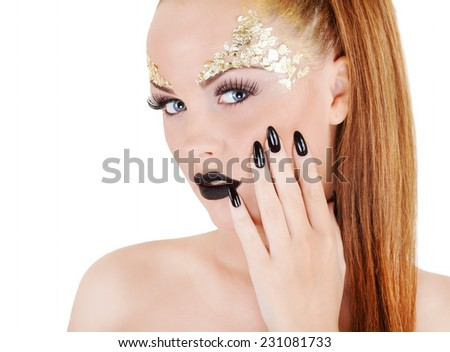 gorgeous nude woman portrait  - stock photo