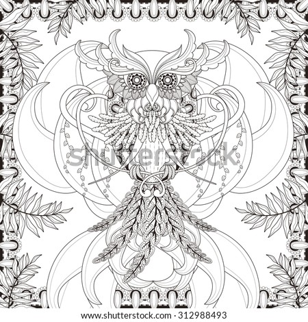 gorgeous owl coloring page in exquisite style - stock photo