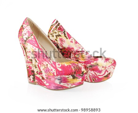 gorgeous pattern wedges shoes isolated on white - stock photo