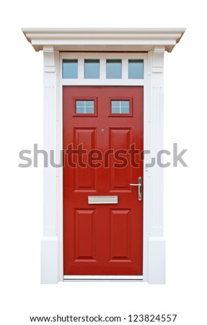 gorgeous red british house door (isolated on white background) - stock photo