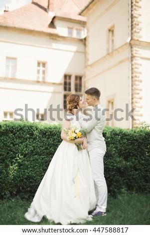 Gorgeous romantic gentle stylish beautiful caucasian bride on the background ancient baroque castle - stock photo