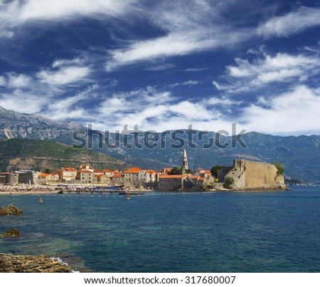Gorgeous scenic view on the Old Town in Budva, Montenegro - stock photo