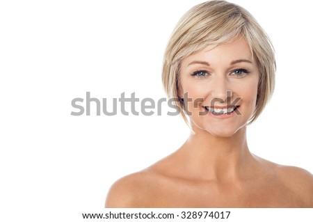 Gorgeous sexy lady posing over white - stock photo