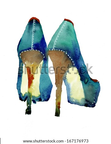 Gorgeous shoes illustration - stock photo