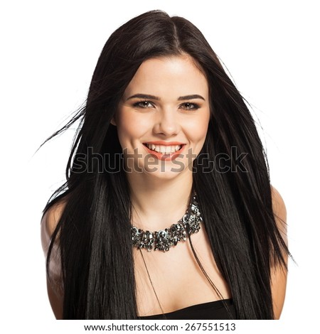 Gorgeous, smiling white caucasian female model isolated on white background, wearing a necklace. - stock photo
