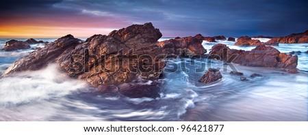 Gorgeous Sunset on the South Australian Coast - stock photo